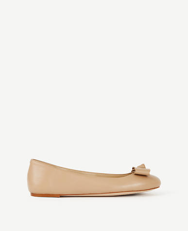Image of Talia Bow Leather Ballet Flats