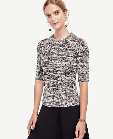 Image of Marled Short Sleeve Sweater