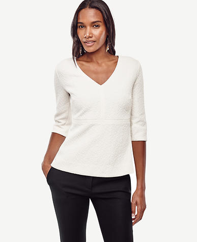 Image of V-Neck Structured Peplum Top