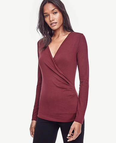 Image of Side Ruched Wrap Top