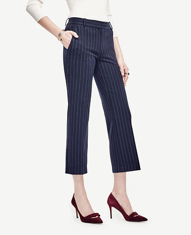 Image of Pinstripe Refined Kick Crop Flare