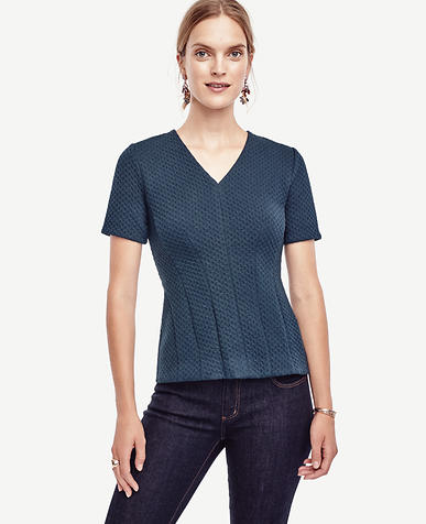 Image of Geo Jacquard Seamed Top