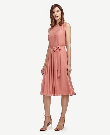 Image of Pleated Belted Midi Dress
