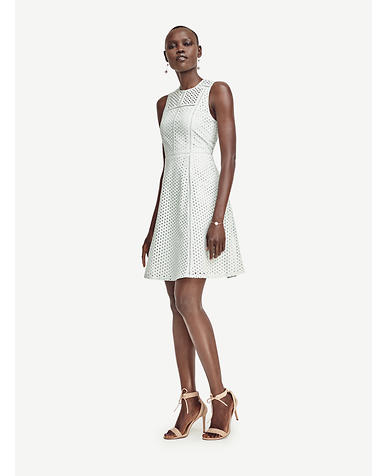 Image of Eyelet Seamed Flare Dress