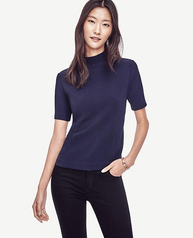 Image of Elbow Sleeve Mock Neck Tee