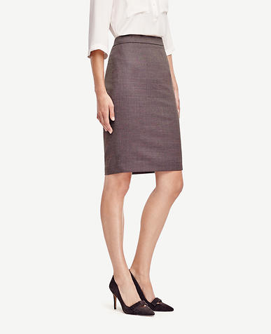 Image of Birdseye Tropical Wool Pencil Skirt