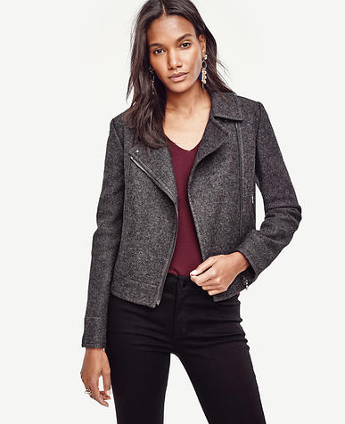 Image of Notched Wool Blend Moto Jacket