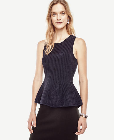 Image of Striped Sleeveless Peplum Sweater