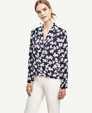 Image of Garden Blossom Silky Wrap Blouse