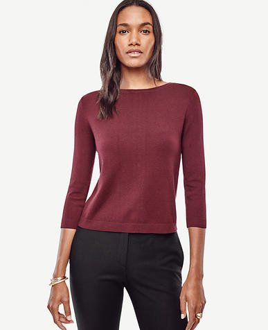 Image of Button Back 3/4 Sleeve Sweater