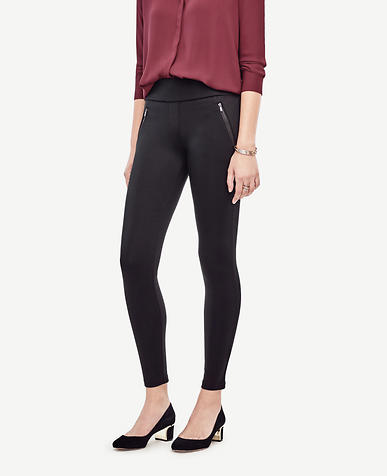 Image of Petite Ponte Zipper Leggings