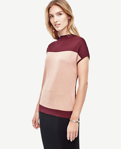 Image of Colorblock Mock Neck Sweater
