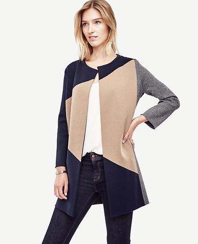 Image of Colorblock Open Sweater Coat