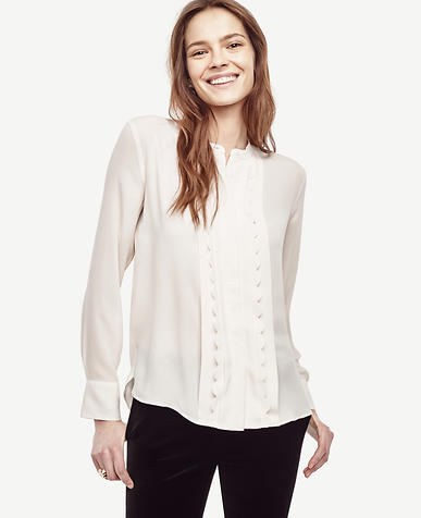 Image of Scalloped Pleat Blouse