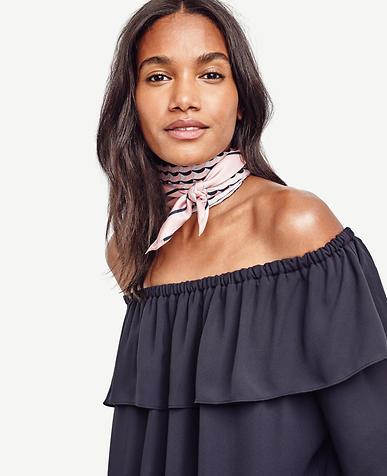 Image of Scallop Stripe Silk Scarf