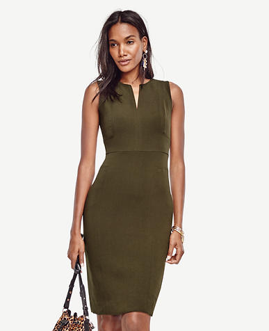 Image of Doubleweave Split Neck Sheath Dress