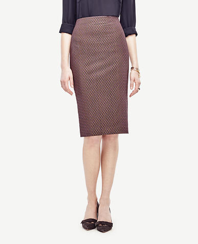 Image of Petite Dot Jacquard Pencil Skirt