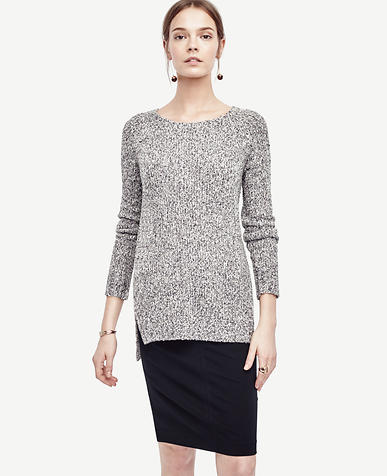 Image of Marled Crew Neck Tunic Sweater