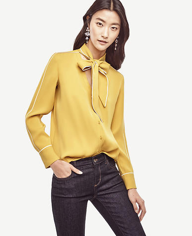 Image of Piped Tie Neck Blouse