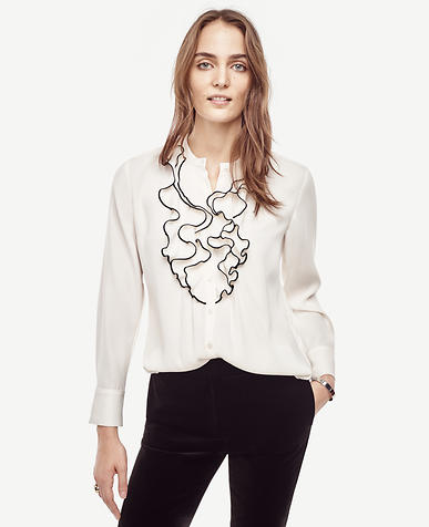 Image of Piped Ruffle Blouse