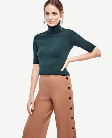 Image of Petite Elbow Sleeve Turtleneck