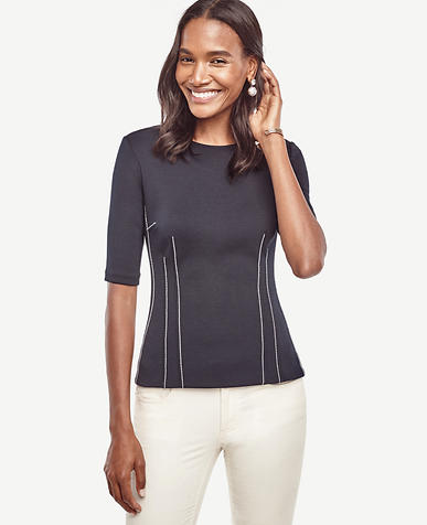 Image of Contrast Stitch Top
