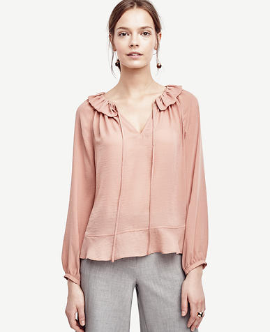 Image of Petite Tie Front Ruffle Neck Blouse