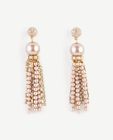 Image of Crystal Pearlized Tassel Earrings