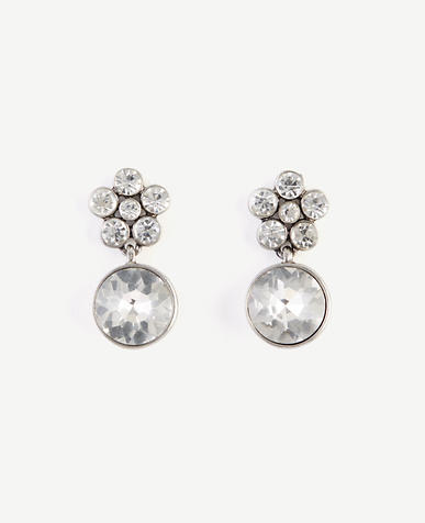 Image of Round Crystal Drop Earrings
