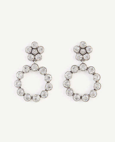 Image of Round Crystal Circle Drop Earrings