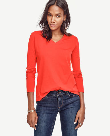 Image of Cotton V-Neck Long Sleeve Tee