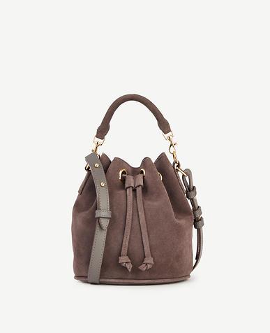Image of Suede Mini Bucket Bag