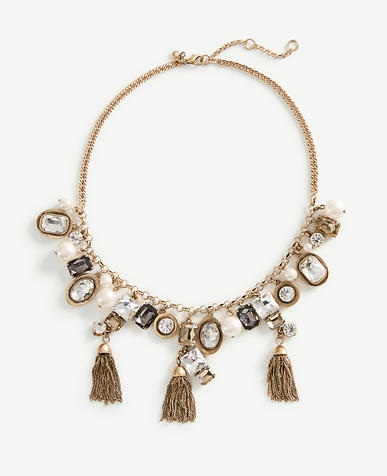 Image of Crystal Tassel Statement Necklace