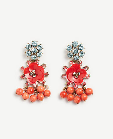 Image of Sequin Floral Crystal Earrings