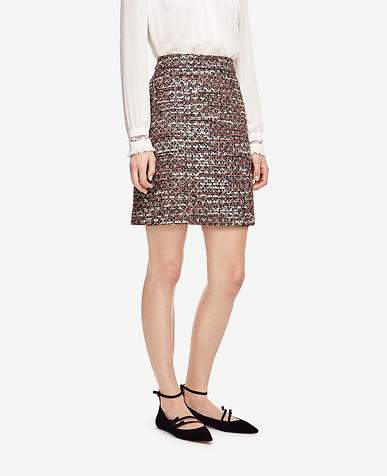 Image of Sequin Tweed Skirt