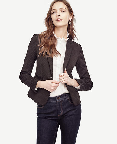Image of Diamond Textured Single Button Blazer
