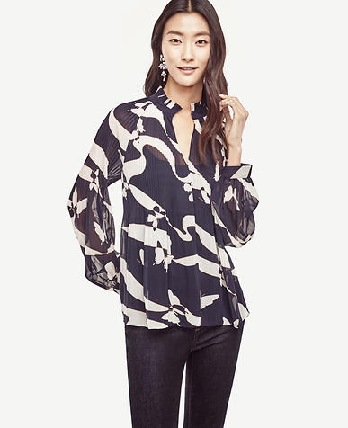 Image of Abstract Butterfly Micro Pleat Blouse