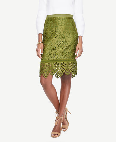Image of Botanical Lace Pencil Skirt