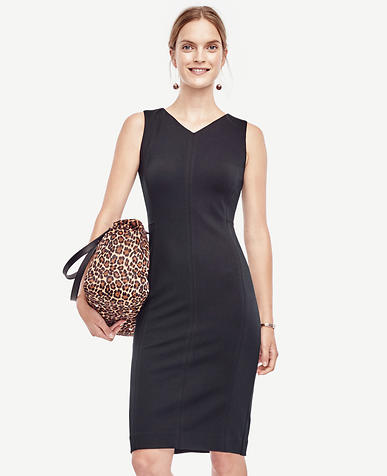 Image of Petite V-Neck Ponte Seamed Sheath Dress