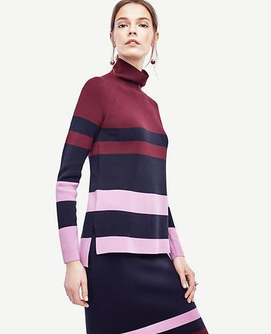 Image of Petite Colorblock Mock Neck Tunic Sweater