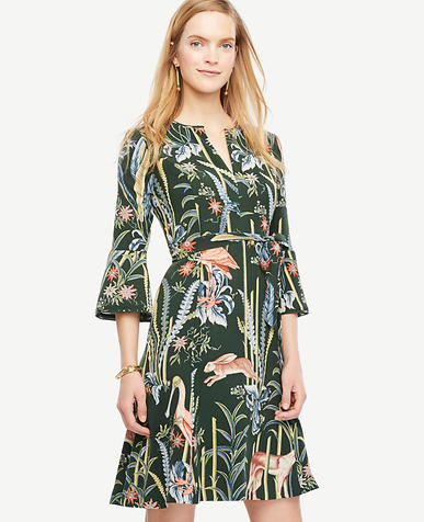 Image of Reed Garden Fluted Sleeve Dress