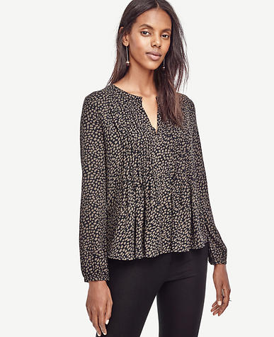 Image of Spotted Pintuck Peplum Blouse