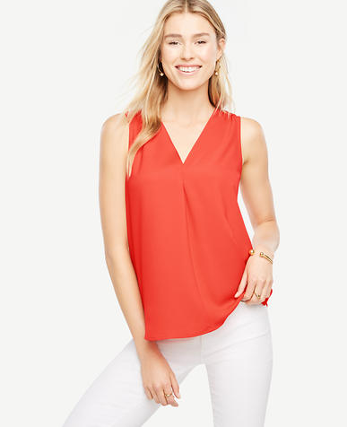 Image of Matte Jersey V-Neck Shell
