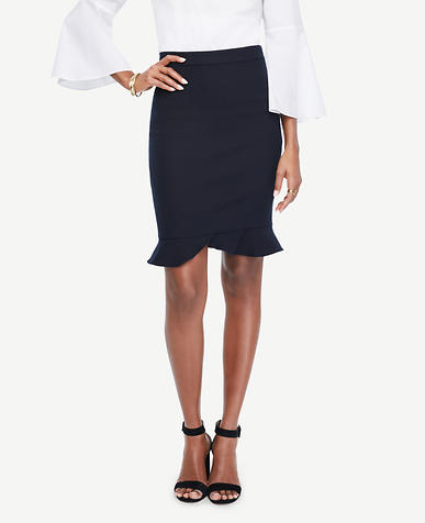 Image of Ruffle Hem Pencil Skirt