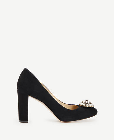 Image of Annelise Suede Stone Block Heel Pumps