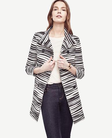 Image of Petite Zebra Jacquard Coat