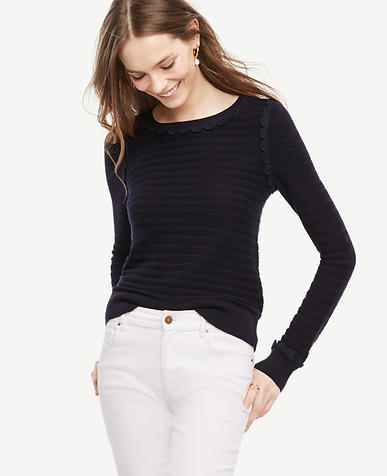 Image of Scallop Textured Sweater