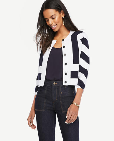 Image of Mixed Stripe Sweater Jacket