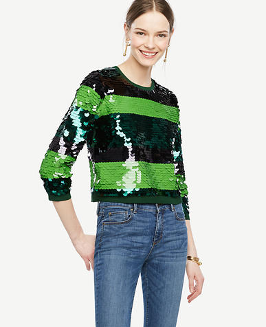 Image of Striped Sequin Sweater