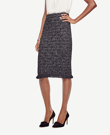 Image of Fringe Tweed Pencil Skirt